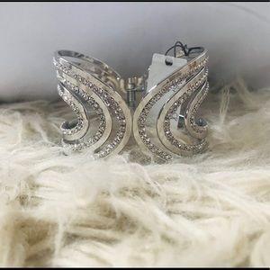Silver Crystal Cuffed Bracelet